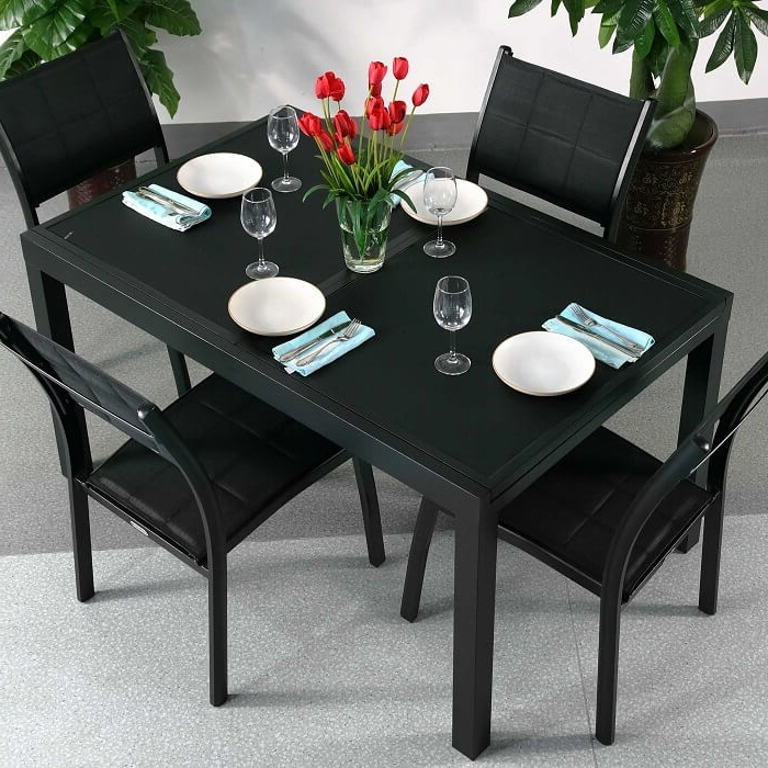 Most Popular 6 Seat Dining Table Sets Within Dining Table Set Daisy Black – 6 Person Aluminium & Glass Extension (View 13 of 20)