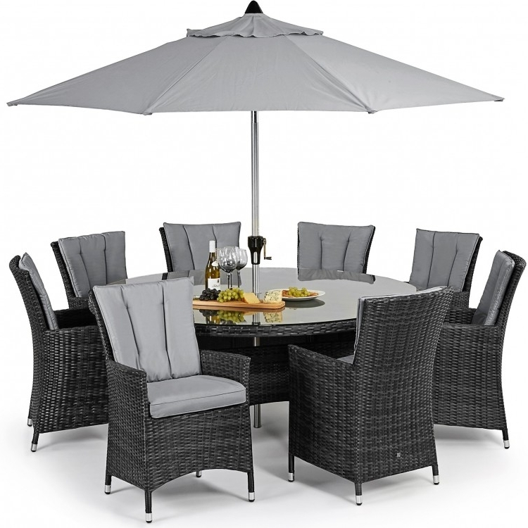 Most Popular 8 Seater Round Dining Table And Chairs For Maze Rattan La 8 Seat Dining Set (View 12 of 20)