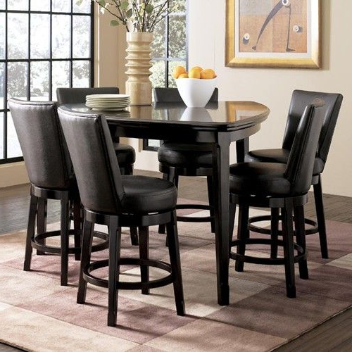 Most Popular Ashley Millennium Emory 7 Piece Triangle Pub Table Set With 6 With Regard To Jaxon 5 Piece Extension Counter Sets With Wood Stools (View 16 of 20)