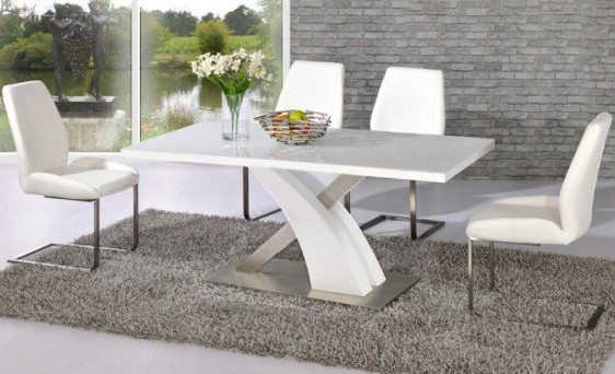 Most Popular Avici Y Shaped High Gloss White And Chrome Dining Table 4 Intended For White Gloss Dining Furniture (View 7 of 20)