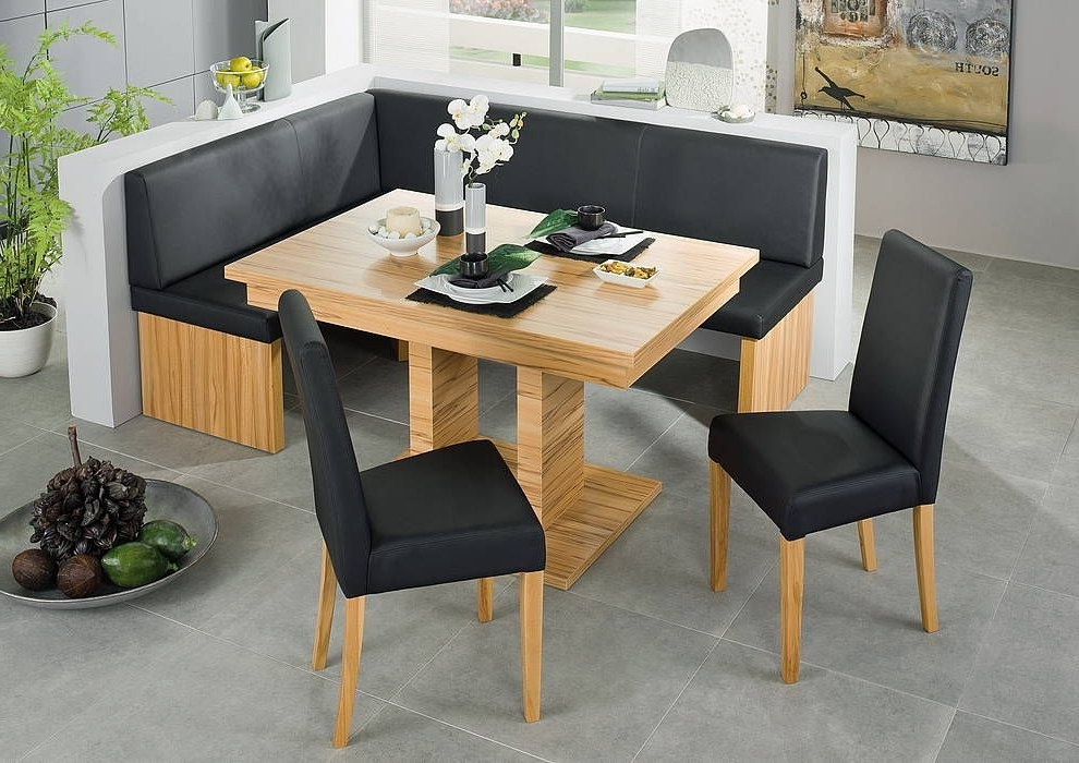 Most Popular Black Leather Corner Bench Breakfast Booth Nook Kitchen Nook Booth Intended For Caira Black 5 Piece Round Dining Sets With Diamond Back Side Chairs (View 18 of 20)