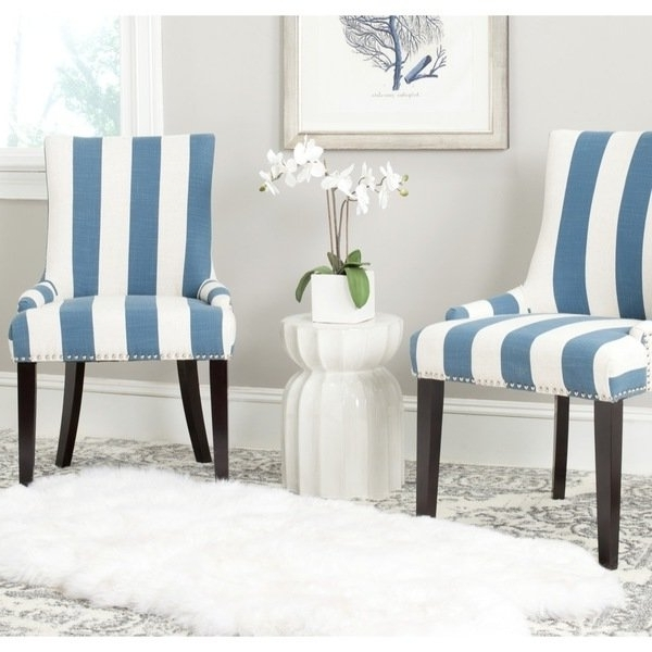 Most Popular Blue Stripe Dining Chairs With Shop Safavieh En Vogue Dining Lester Blue/white Stripe Polyester (View 6 of 20)