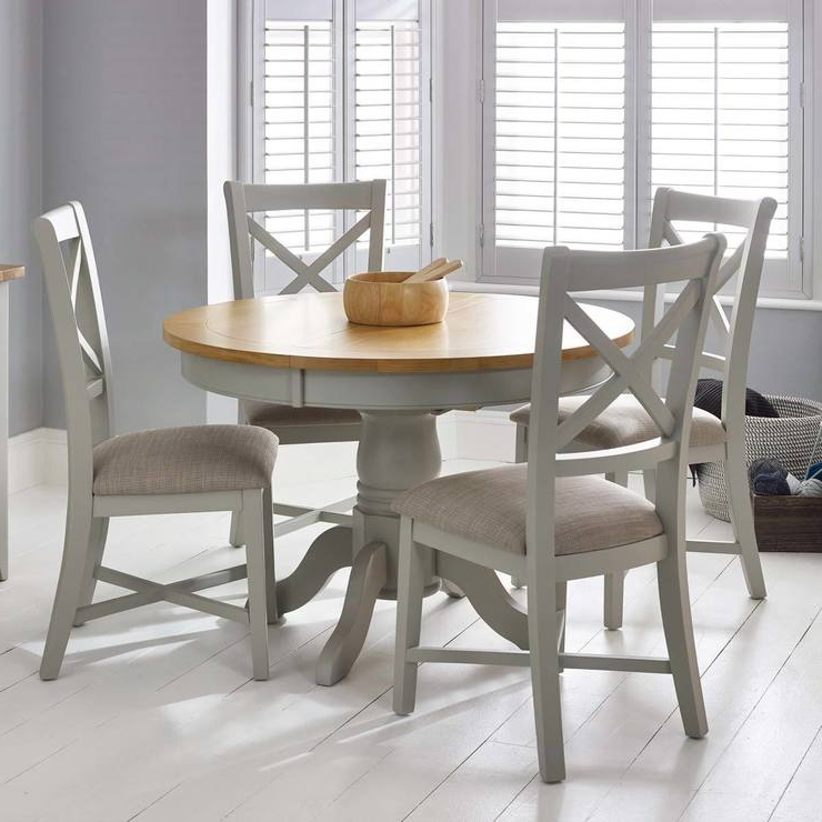 Most Popular Bordeaux Painted Light Grey Round Extending Dining Table + 4 Chairs Throughout Dining Tables With Grey Chairs (View 10 of 20)