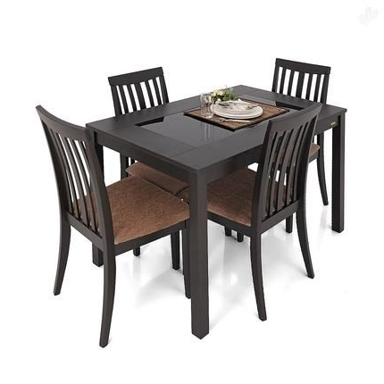 Most Popular Buy Dining Tables In Buy Zuari Dining Table Set 4 Seater Wenge Finish – Piru Online India (View 7 of 20)