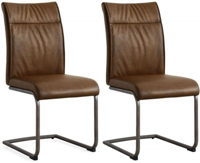 Most Popular Buy Industrial Faux Leather High Back Dining Chair (pair) Online Inside High Back Leather Dining Chairs (View 6 of 20)