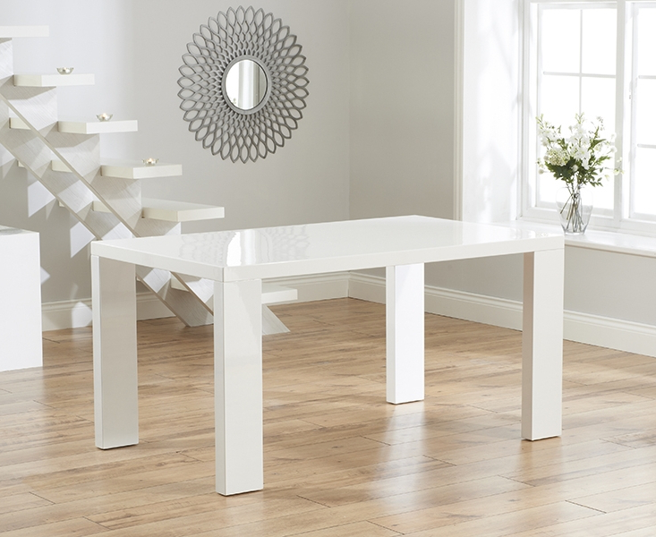 Most Popular Buy Mark Harris Metz White High Gloss Rectangular Dining Set With 2 In High Gloss Dining Room Furniture (View 19 of 20)