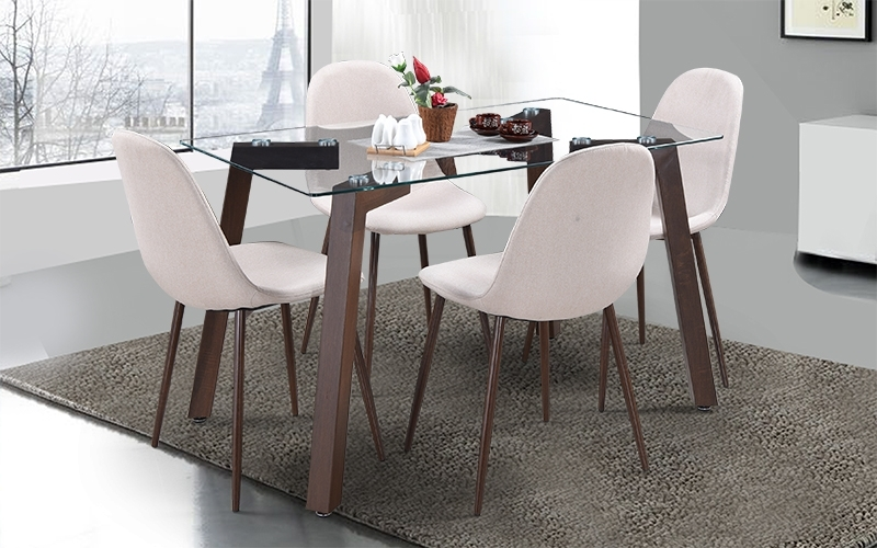 Most Popular Buy Royaloak Fortuna 4 Seater Dining Set With Glass Table Top In 4 Seat Dining Tables (View 14 of 20)