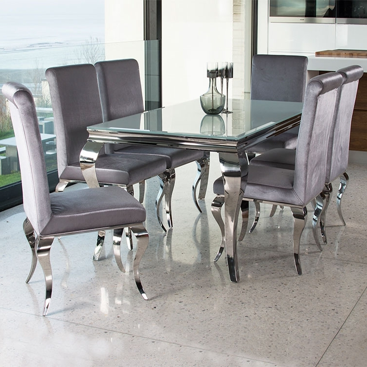 Most Popular Chrome Dining Room Sets Intended For (View 5 of 20)