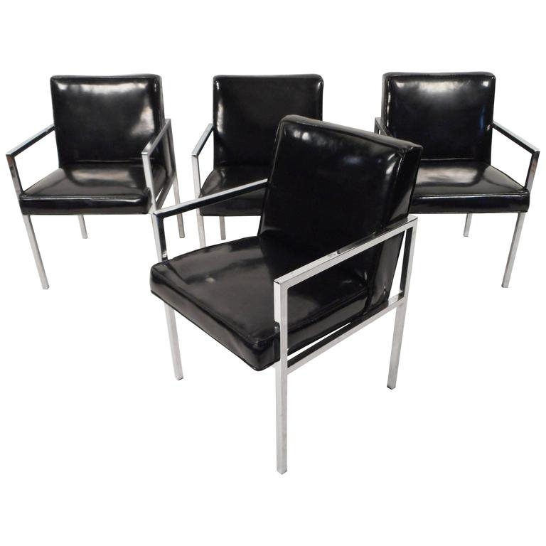 Most Popular Chrome Dining Sets With Set Of Mid Century Modern Chrome And Vinyl Dining Chairs For Sale At (View 12 of 20)