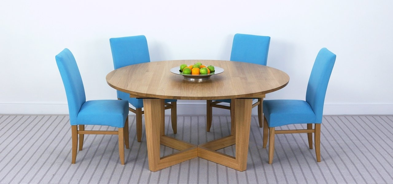 Most Popular Circular Oak Dining Tables With Regard To Brunel Large Round Extending Table In Solid Oak & Solid Walnut (View 13 of 20)
