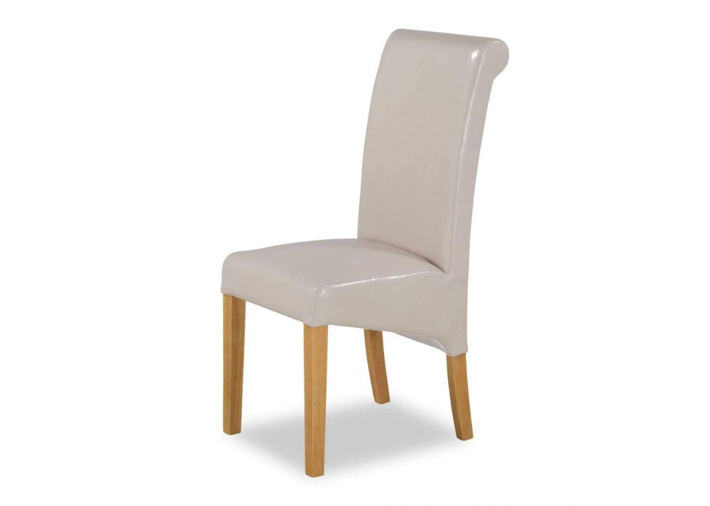 Most Popular Cream Faux Leather Dining Chairs With Regard To Cream Faux Leather Dining Chair With Oak Legs – Wilton – Ez Living (View 12 of 20)