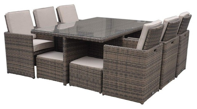 Most Popular Cube Dining Tables With Regard To Rattan Cushioned Garden Patio Furniture Outdoor Dining Table Cube (View 12 of 20)