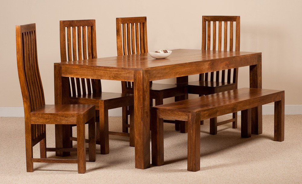 Most Popular Dakota Mango 6 Seater Dining Set With Bench (View 13 of 20)