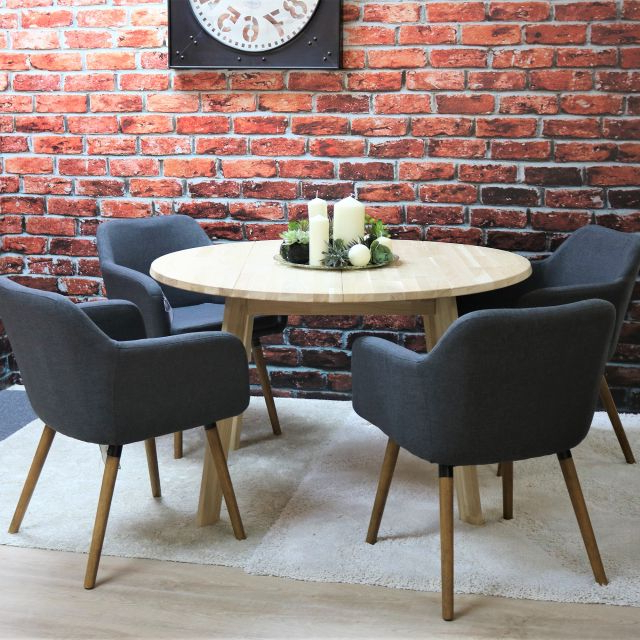 Most Popular Dawson Dining Tables Throughout Tilbury 4 Person Untreated Solid Oak Round Dining Table + 4 Dawson (View 14 of 20)