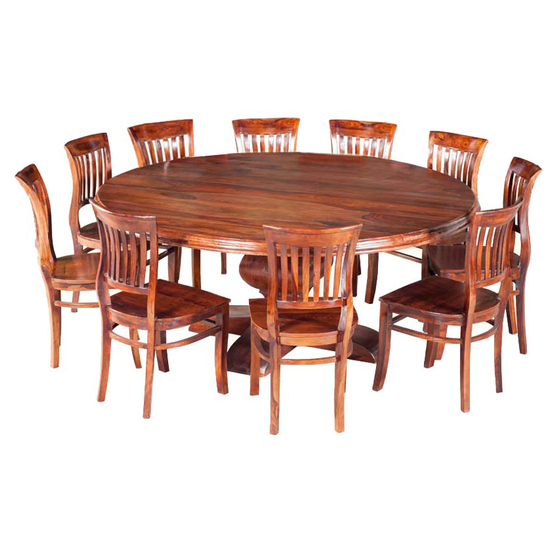 Most Popular Dining Table Chair Sets In Sierra Nevada Large Round Rustic Solid Wood Dining Table & Chair Set (View 12 of 20)