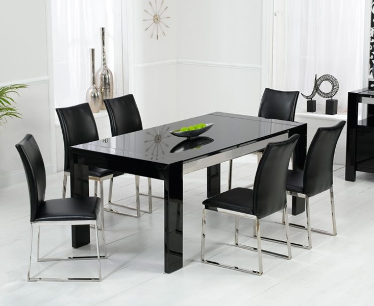 Most Popular Dining Tables Black Glass Regarding Enchanting Black High Gloss Dining Table And Chairs (View 15 of 20)