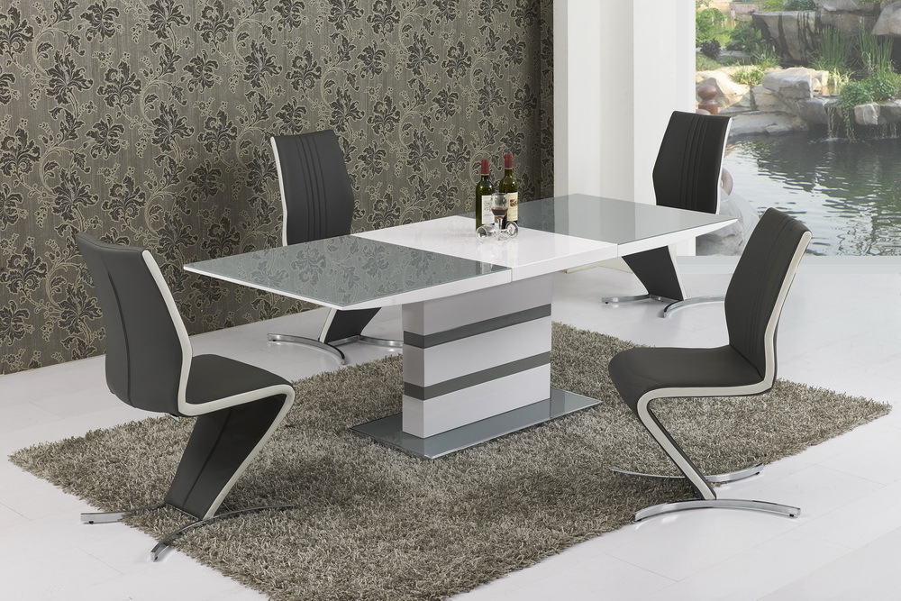 Most Popular Extending Gloss Dining Tables Regarding Large Extending Grey Glass White Gloss Dining Table And 8 Chairs Set (View 18 of 20)