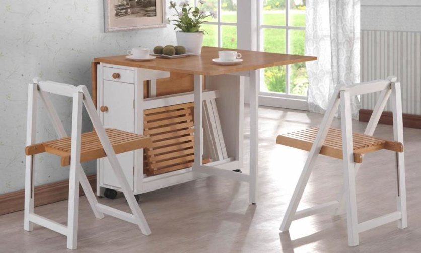 Most Popular Folding Dining Table And Chairs Sets With Regard To Brown And White Dining Furniture Sets For Charming Room (View 7 of 20)