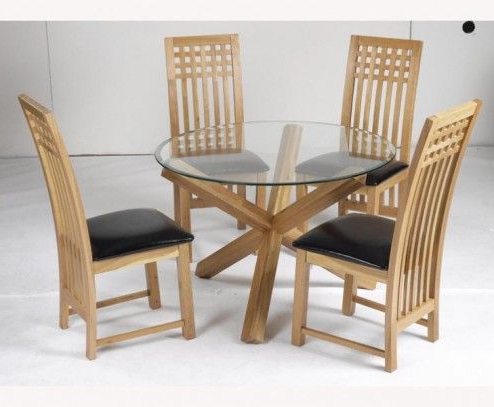 Most Popular Glass Top Oak Dining Tables With Furniture, Malmo Small Round Glass Top Natural Solid Oak Veneer (View 3 of 20)