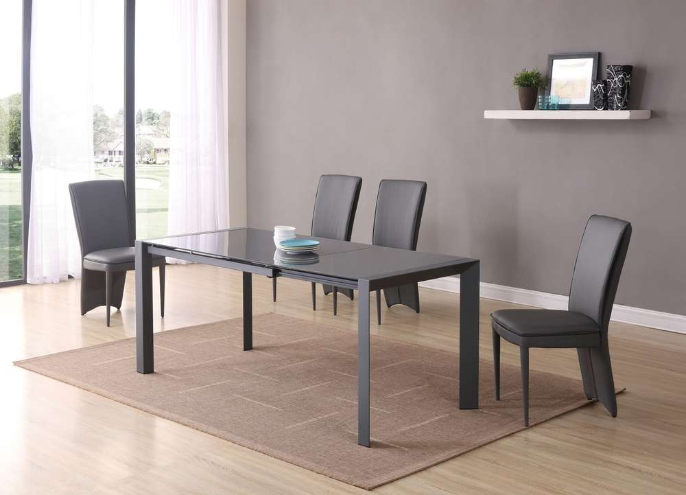 Most Popular Grey Glass Dining Tables In Extending Matt Grey Glass Dining Table And 6 Chairs – Homegenies (View 4 of 20)