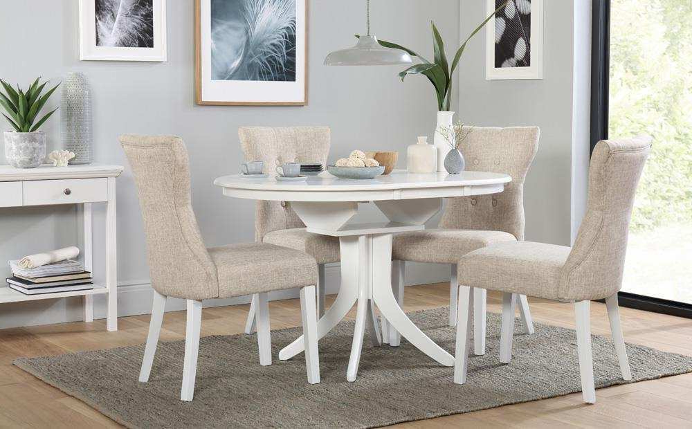 Most Popular Hudson Round White Extending Dining Table With 4 Bewley Oatmeal For Round Extending Dining Tables Sets (View 8 of 20)
