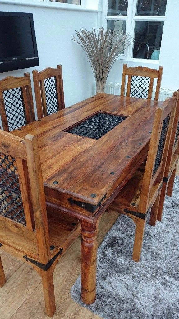 Most Popular Indian Dining Tables And Chairs Pertaining To Solid Indian Oak Dining Table & 6 Chairs (View 6 of 20)