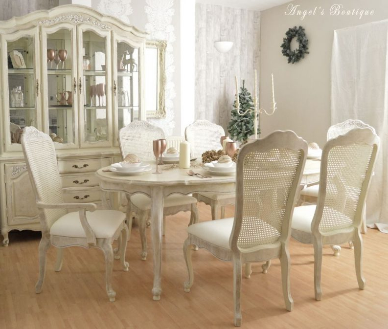Most Popular Ivory Painted Dining Tables With Regard To Shabby Chic Pedestal Dining Table Long Dining Table Small Glass Top (View 7 of 20)