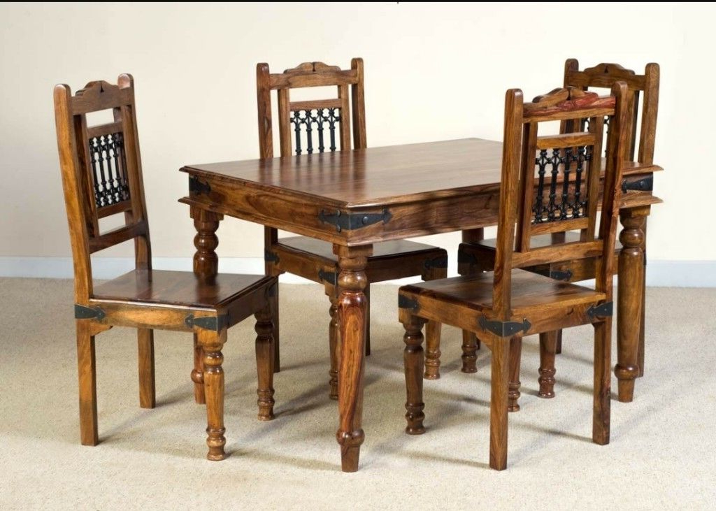 Most Popular Jali Sheesham Dining Table And 4 Chairs (View 8 of 20)