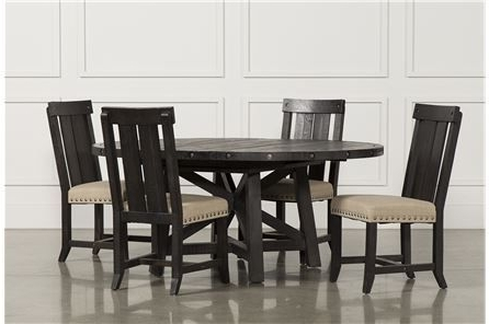 Most Popular Jaxon 5 Piece Extension Round Dining Set W/wood Chairs, Café (View 12 of 20)
