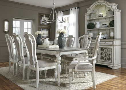 Most Popular Magnolia Home Prairie Dining Tables Pertaining To Liberty Magnolia Manor Antique White Extendable Rectangular Leg (View 12 of 20)