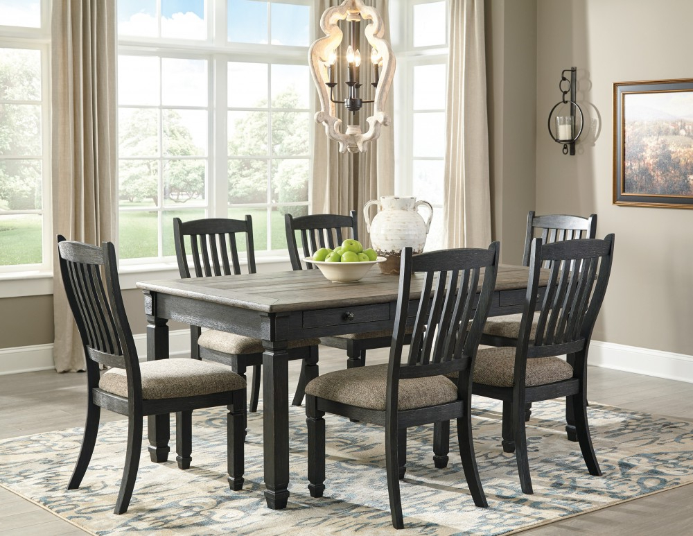 Most Popular Market 6 Piece Dining Sets With Side Chairs Throughout Tyler Creek – Rectangular Dining Room Table & 6 Uph Side Chairs (View 12 of 20)