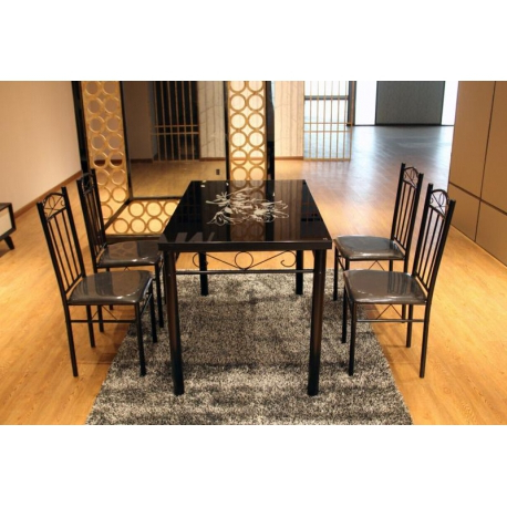 Most Popular Modern Black Flower Design Dining Table Set Glass Top 4 Faux Leather Inside Dining Room Glass Tables Sets (View 14 of 20)