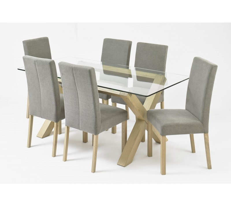 Most Popular Oak And Glass Dining Tables Pertaining To Bentley Designs Turin Aged Glass Top Dining Table (View 10 of 20)