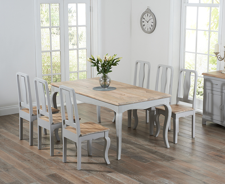 Most Popular Parisian 175cm Grey Shabby Chic Dining Table With Chairs In Dining Tables With Grey Chairs (View 18 of 20)