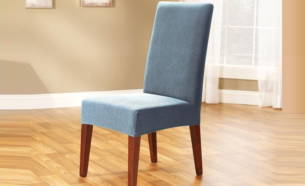 Most Popular Pearson Grey Slipcovered Side Chairs Inside Federal Blue Pearson Dining Chair Coversure Fit (View 7 of 20)