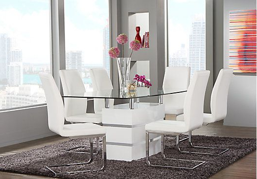 Most Popular Picture Of Tria White 5 Pc Rectangle Dining Room From Dining Room For Palazzo 6 Piece Dining Set With Mindy Slipcovered Side Chairs (View 7 of 20)