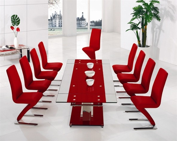 Most Popular Red Dining Tables And Chairs Intended For Alba Small Red Glass Dining Table With Alison Dining Chair – Implex (View 10 of 20)