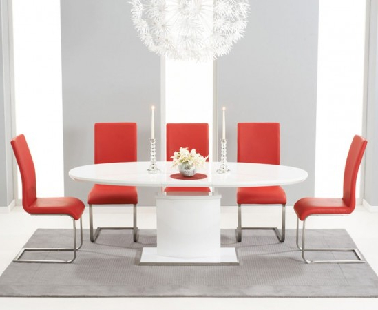 Most Popular Red Gloss Dining Tables Intended For Seville 160Cm High Gloss Extending Dining Table With 6 Malibu Red (View 11 of 20)