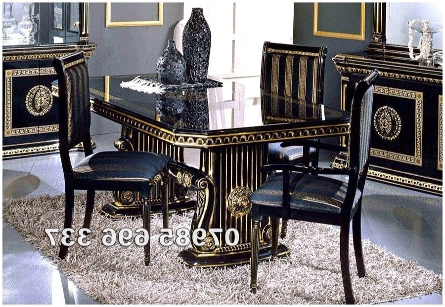 Most Popular Rossella Italian Dining Table And 6 Chairs In High Gloss With Gold Pertaining To Italian Dining Tables (View 18 of 20)
