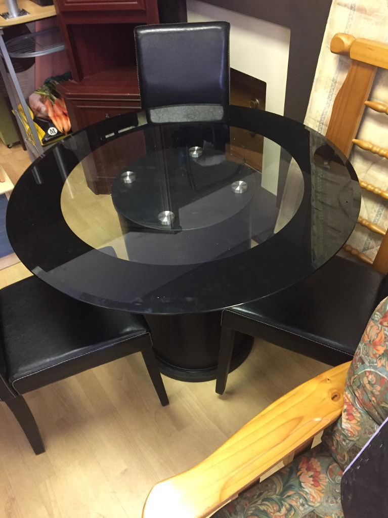 Most Popular Round Black Glass Dining Tables And Chairs Within Round Black Glass Dining Table & Three Chairs (View 5 of 20)