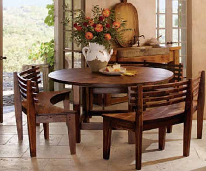 Most Popular Round Breakfast Table With Curved Wooden Benches (View 9 of 20)