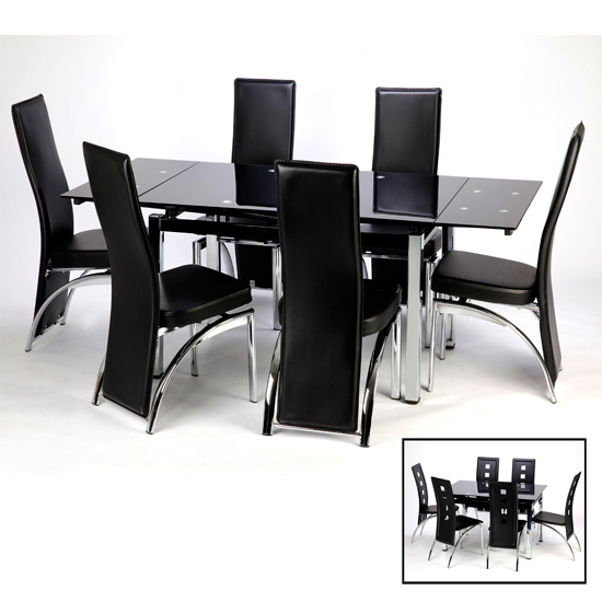 Most Popular Sarah Extending Dining Table And Chairs In Black 15394 Intended For Extending Black Dining Tables (View 9 of 20)