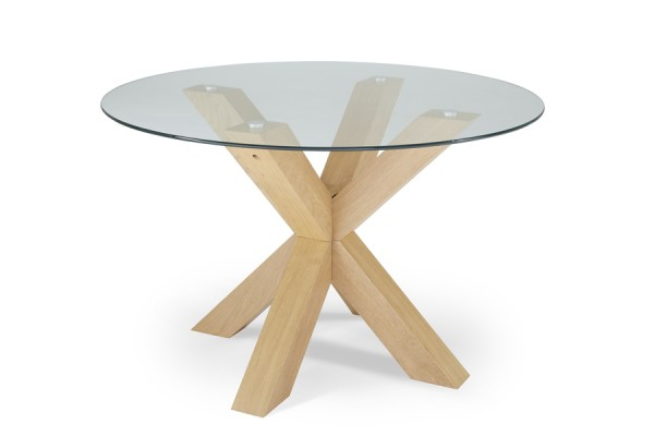 Most Popular Serene Romford 120Cm Round Dining Table Glass/oak Regarding Round Glass And Oak Dining Tables (View 11 of 20)