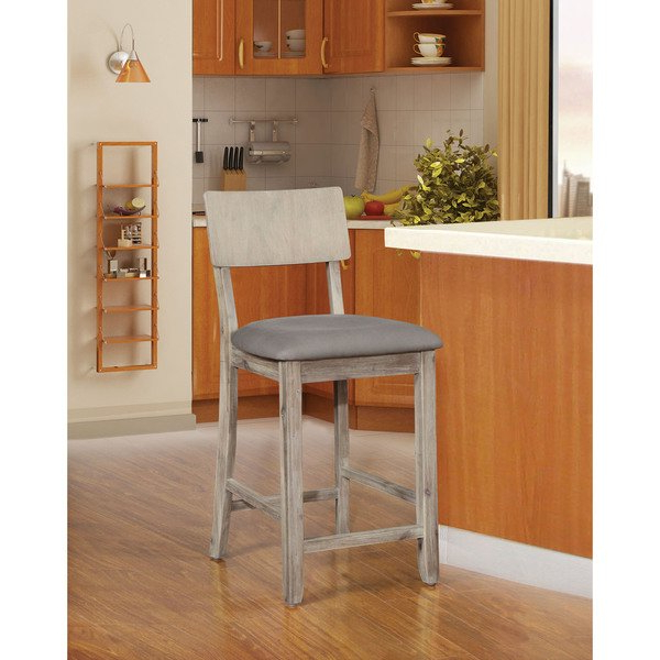 Most Popular Shop Loren Gray Wash Counter Stool – On Sale – Free Shipping Today Throughout Laurent 7 Piece Counter Sets With Upholstered Counterstools (View 9 of 20)