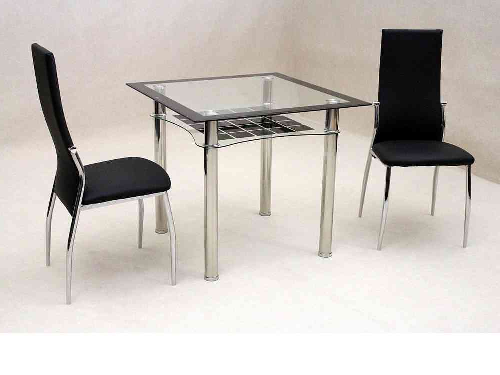 Most Popular Small Dining Tables For 2 In Small Square Glass Dining Table And 2 Chairs – Homegenies (View 10 of 20)