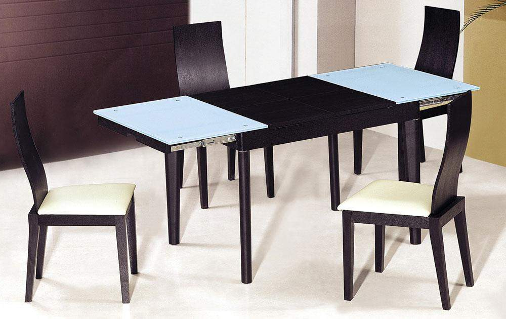 Most Popular Small Extendable Dining Table Sets Regarding Extendable Wooden With Glass Top Modern Dining Table Sets Columbus (View 6 of 20)