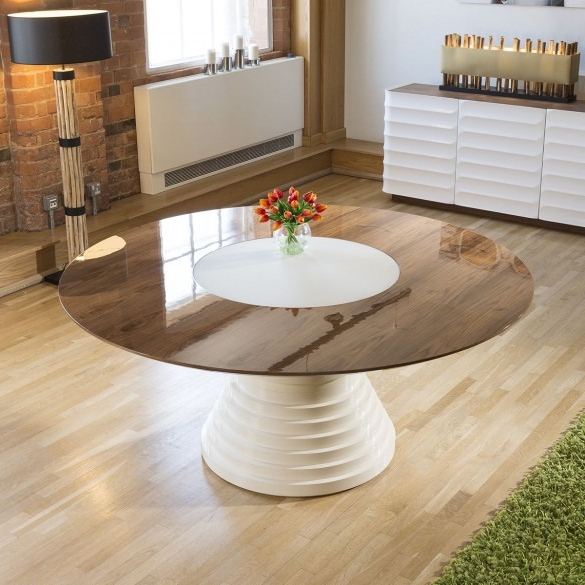 Most Popular Stunning Large Round Walnut Lacquered Dining Table Glass Insert  (View 16 of 20)