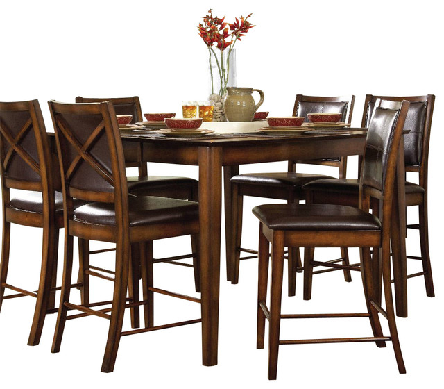 Most Popular Verona Dining Tables In Homelegance Verona Counter Height Table In Dark Oak – Transitional (View 12 of 20)