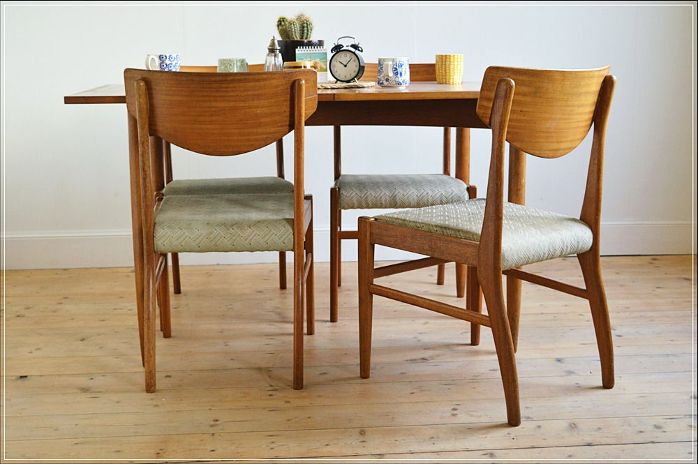 Most Popular Vintage Dining Chair Chairs Teak Set Of 4Morris Of Glasgow Intended For Glasgow Dining Sets (View 12 of 20)