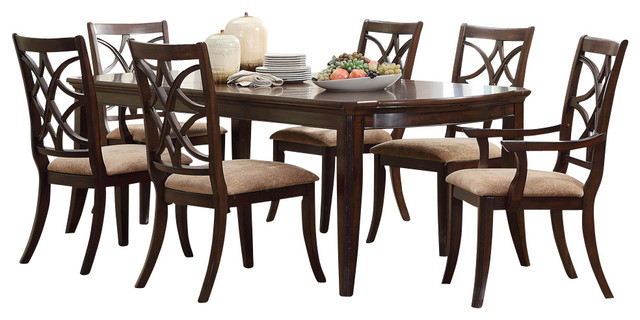 Most Popular Walden 7 Piece Extension Dining Sets Inside Homelegance Keegan 7 Piece Dining Room Set, Brown Cherry (View 13 of 20)